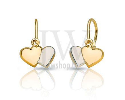 Sárga és fehér arany, szív fülbevaló
