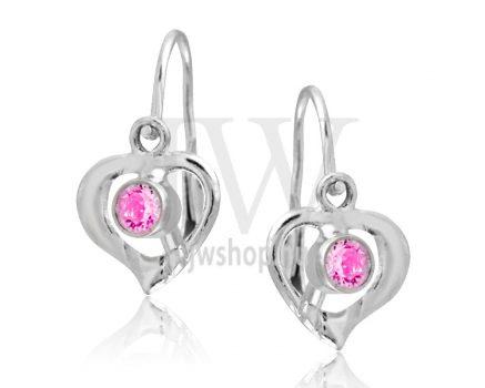 Fehér arany szív gyermek fülbevaló, középen rózsaszín kővel