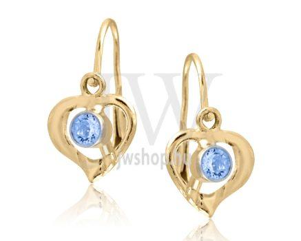 Sárga arany szív gyermek fülbevaló, középen kék kővel