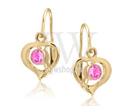 Sárga arany szív gyermek fülbevaló, középen rózsaszín kővel
