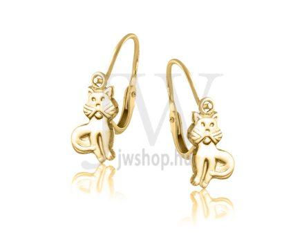 Sárga arany gyermek fülbevaló - Cica