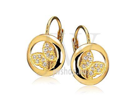 Sárga arany köves patentzáras fülbevaló  FGYP34
