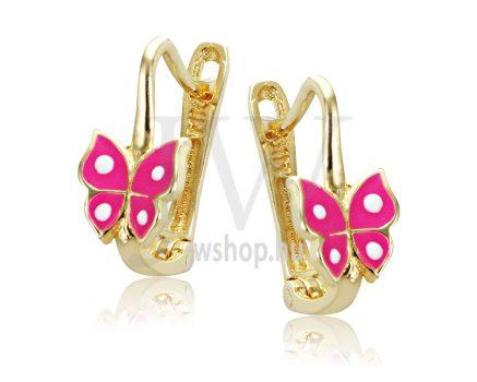 Sárga arany, rózsaszín, pillangós gyermek fülbevaló
