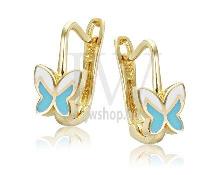Sárga arany, világoskék-fehér pillangó gyermek fülbevaló