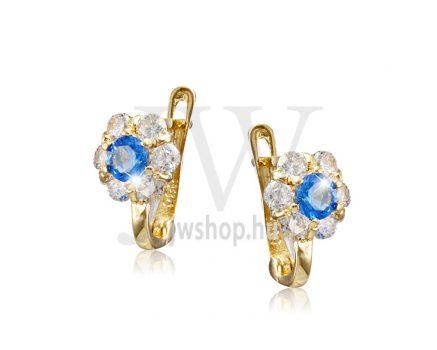 Sárga  arany, fehér köves virág fülbevaló, középen kék kővel