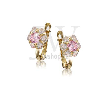 Sárga  arany, fehér köves virág fülbevaló, középen rózsaszín kővel