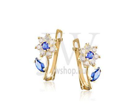 Sárga  arany, fehér köves virág fülbevaló, középen kék kővel és kék levéllel