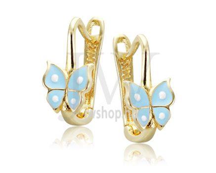 Sárga arany, világoskék, pillangós gyermek fülbevaló