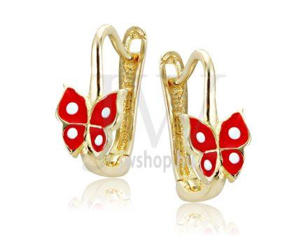 Sárga arany, piros, pillangós gyermek fülbevaló