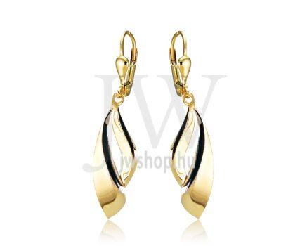 Fehér és sárga arany lógós fülbevaló Fr1