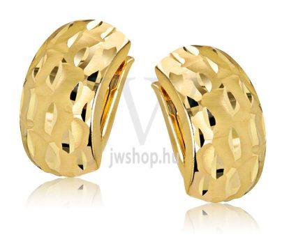 Sárga arany vésett patent záras fülbevaló GYV1D