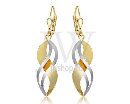 Fehér és sárga arany lógós fülbevaló (Shiner White)