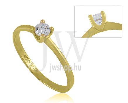 Sárga arany, köves eljegyzési gyűrű - SZ10/S