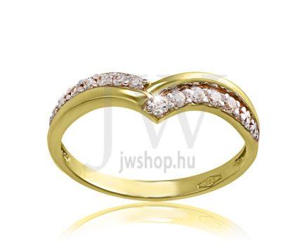 Sárga arany, köves eljegyzési gyűrű - SZ11/S