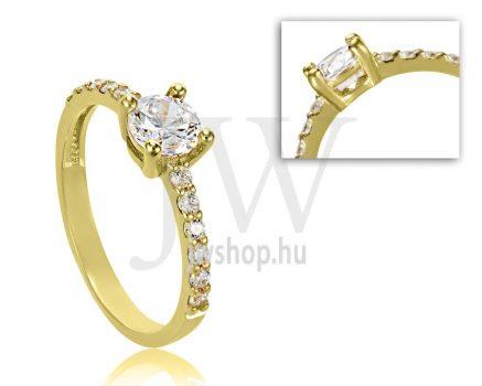 Sárga arany, köves eljegyzési gyűrű - SZ14/S