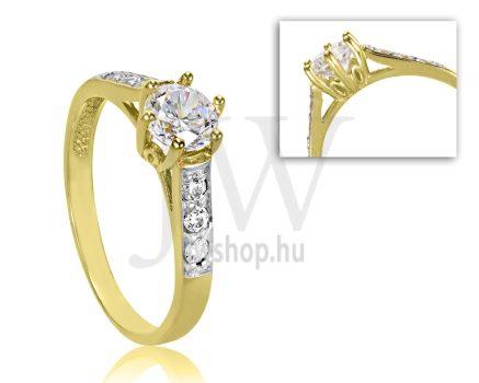 Sárga arany, köves eljegyzési gyűrű - SZ15/S