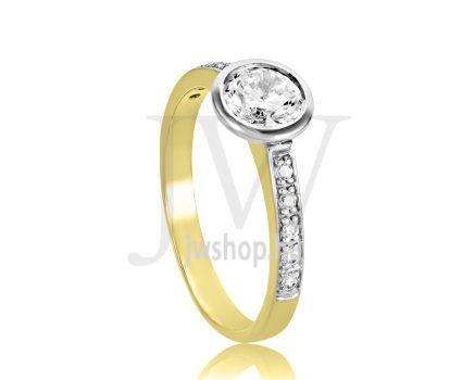 Sárga arany, köves eljegyzési gyűrű - SZ17/S