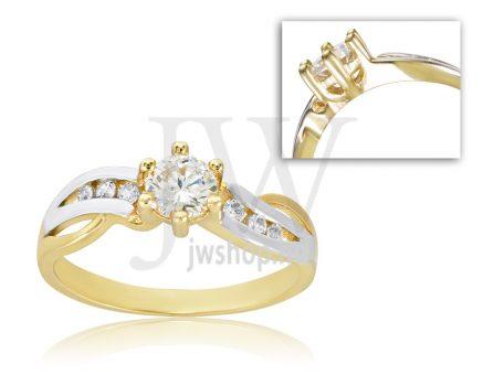 Sárga arany, köves eljegyzési gyűrű - SZ18/S