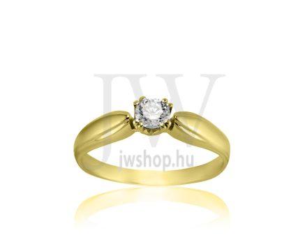 Sárga arany, köves eljegyzési gyűrű - SZ19/S