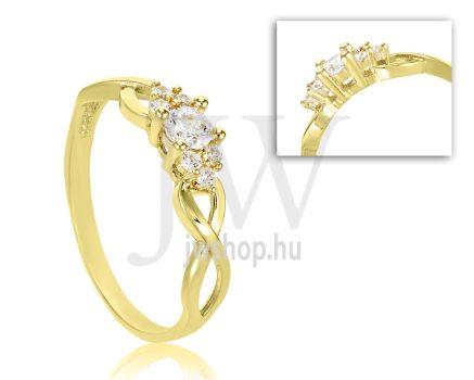 Sárga arany, köves eljegyzési gyűrű - SZ1/S