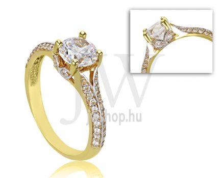 Sárga arany, köves eljegyzési gyűrű - SZ20/S
