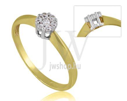 Sárga arany, köves eljegyzési gyűrű - SZ27/S