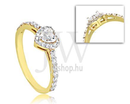 Sárga arany, köves eljegyzési gyűrű - SZ31/S