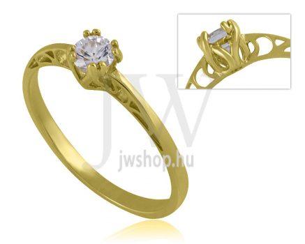 Sárga arany, köves eljegyzési gyűrű - SZ33/S