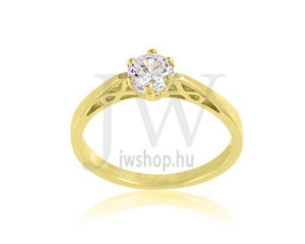 Sárga arany, köves eljegyzési gyűrű - SZ34/S