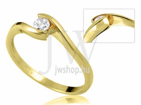 Sárga arany, köves eljegyzési gyűrű - SZ36/S