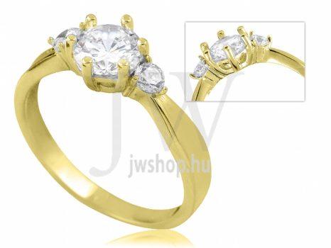 Sárga arany, köves eljegyzési gyűrű - SZ38/S