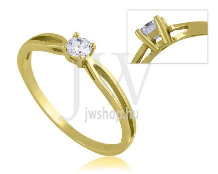 Sárga arany, köves eljegyzési gyűrű - SZ4/S