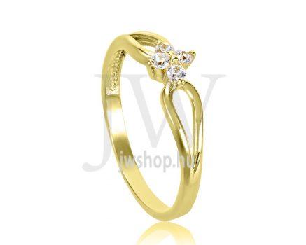Sárga arany, köves eljegyzési gyűrű - SZ6/S