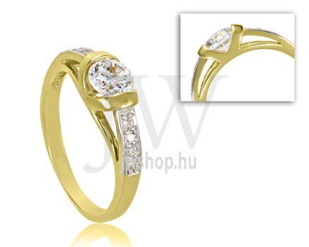 Sárga arany, köves eljegyzési gyűrű - SZ8/S