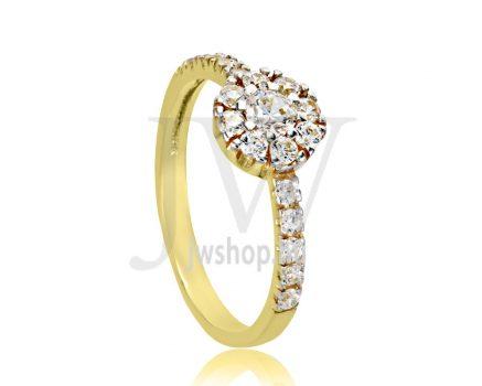 Sárga arany, köves eljegyzési gyűrű - SZ9/S