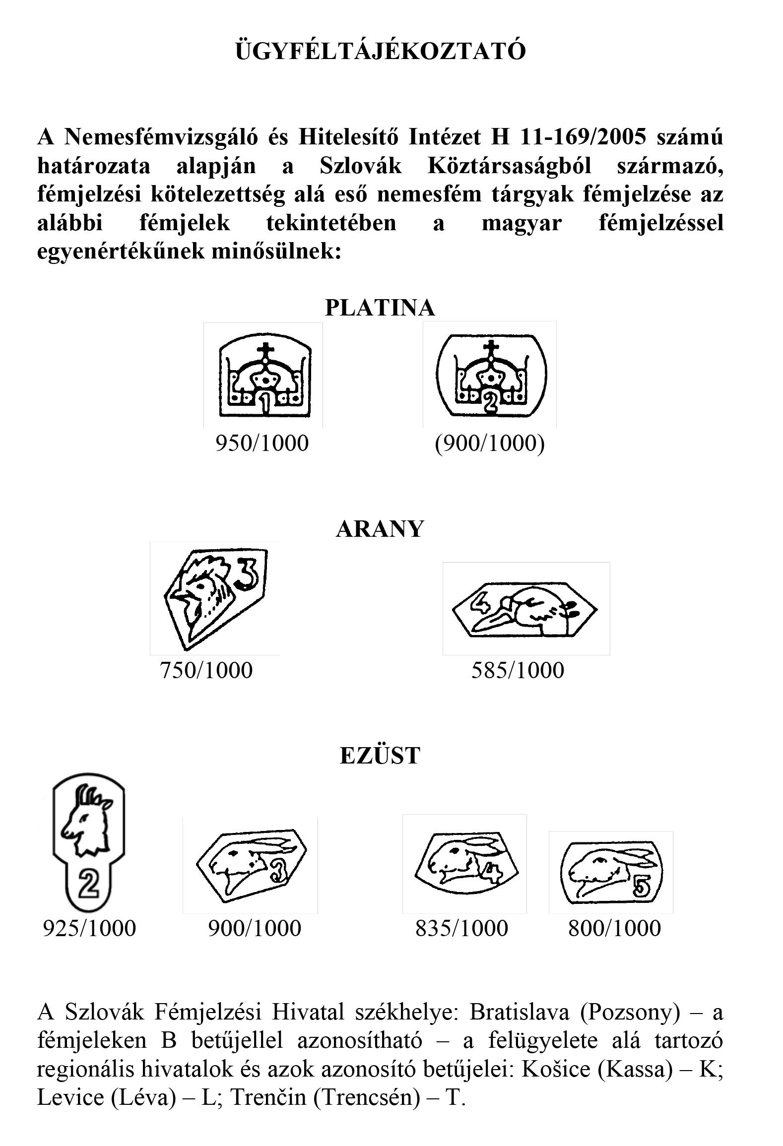 Szlovák Fémjelek